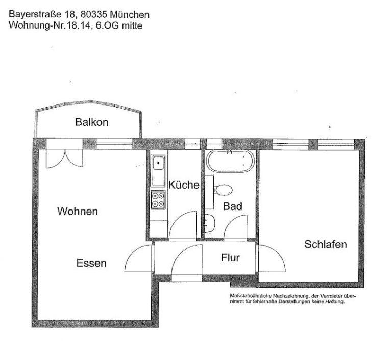 1102 Grundriss Whg. 18.14 768x669 - 2-Zimmer-Wohnung in zentraler Lage direkt am Hauptbahnhof