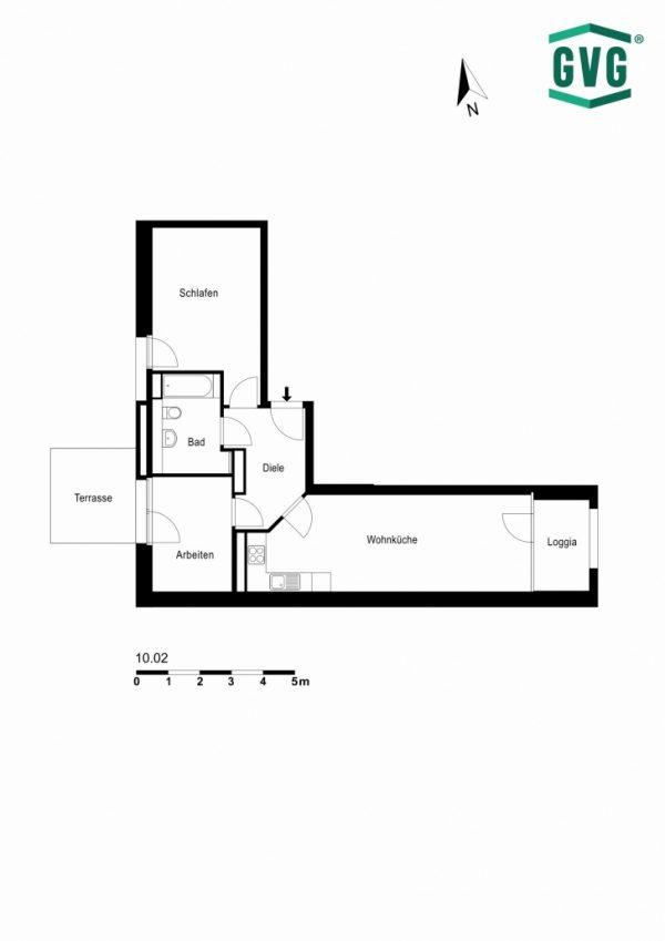2D-Grundriss der 2,5-Zimmer-Wohnung in der Hermine-von-Parish-Strasse
