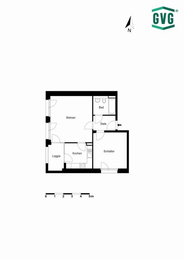 2D-Grundriss der 2-Zimmer-Wohnung in der Hermine-von-Parish-Strasse