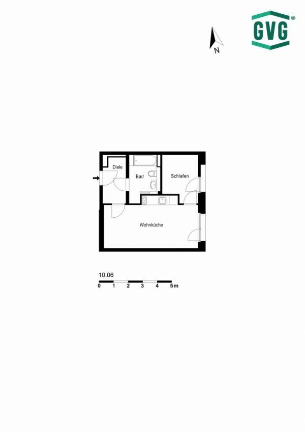2D-Grundriss der 1,5-Zimmer-Wohnung in der Hermine-von-Parish-Strasse