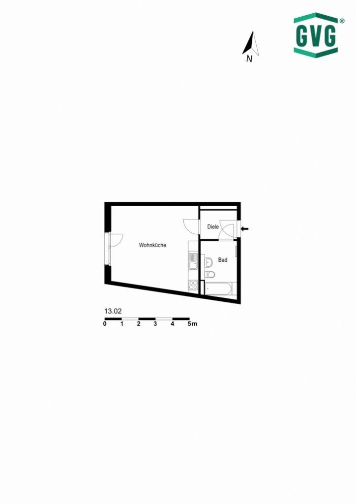 2D-Grundriss der 1-Zimmer-Wohnung in der Hermine-von-Parish-Strasse