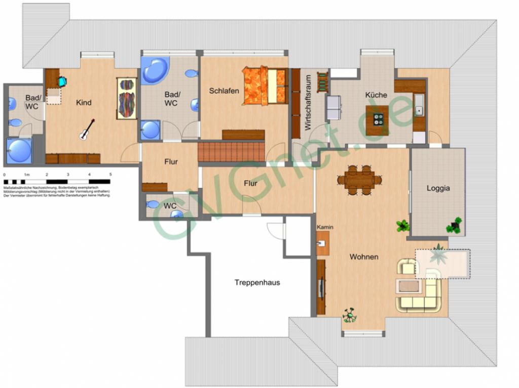 Grundriss der Wohnräume der exklusiven Dachgeschoss-Wohnung am Ostbahnhof