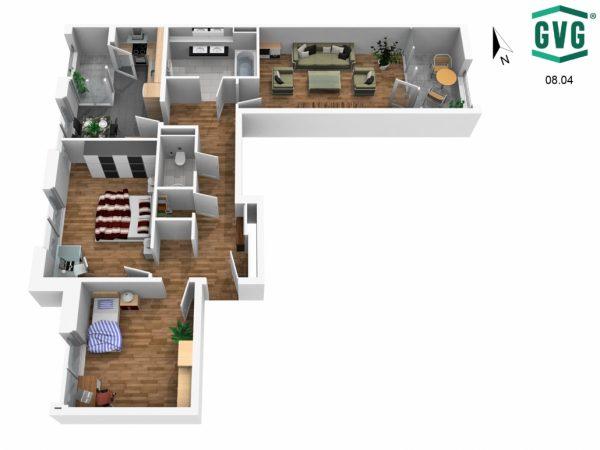 Grundriss 3D N Richtung 1 600x450 - Neubau! Erstbezug! Moderne 3-Zimmer-Wohnung mit Einbauküche und Loggia! (Whg. 14.11)