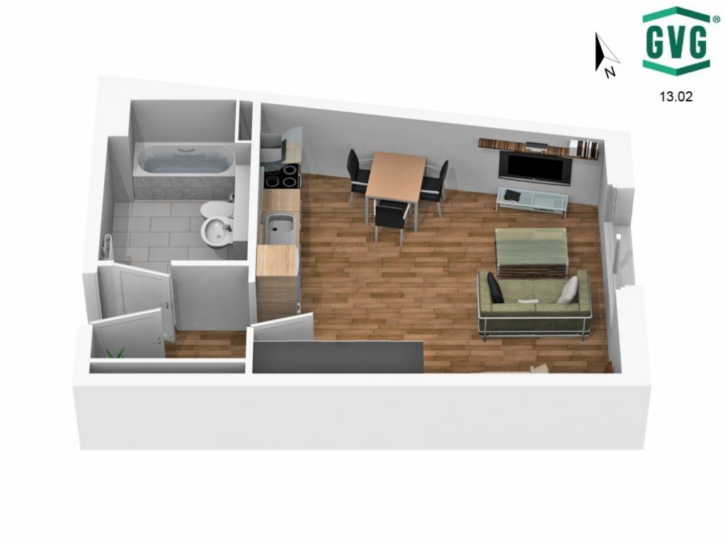 3D-Grundriss der 1-Zimmer-Wohnung in der Hermine-von-Parish-Strasse in Nordrichtung