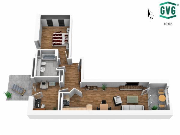 3D-Grundriss der 2,5-Zimmer-Wohnung in der Hermine-von-Parish-Strasse in Nordrichtung