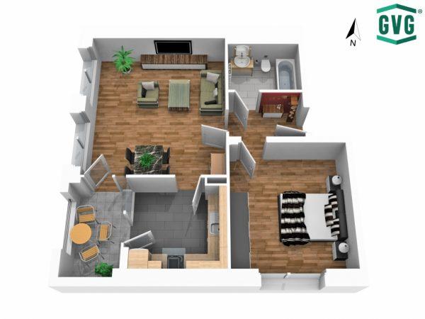 3D-Grundriss der 2-Zimmer-Wohnung in der Hermine-von-Parish-Strasse in Nordrichtung
