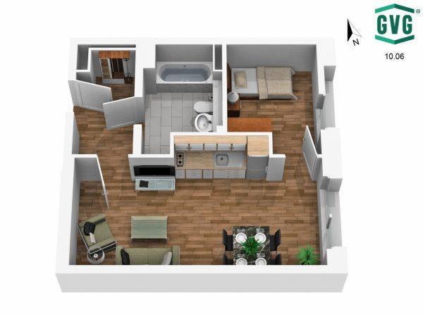 3D-Grundriss der 1,5-Zimmer-Wohnung in der Hermine-von-Parish-Strasse in Nordrichtung