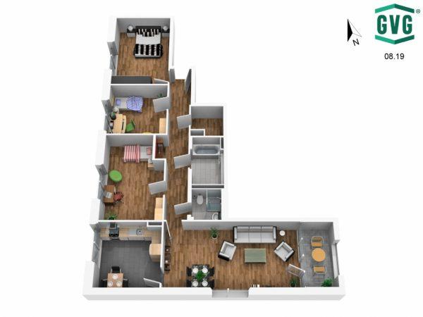 Grundriss 3D N Richtung 600x450 - Neubau! Erstbezug! Moderne 4-Zimmer-Wohnung mit Einbauküche und Loggia! (Whg. 13.23)