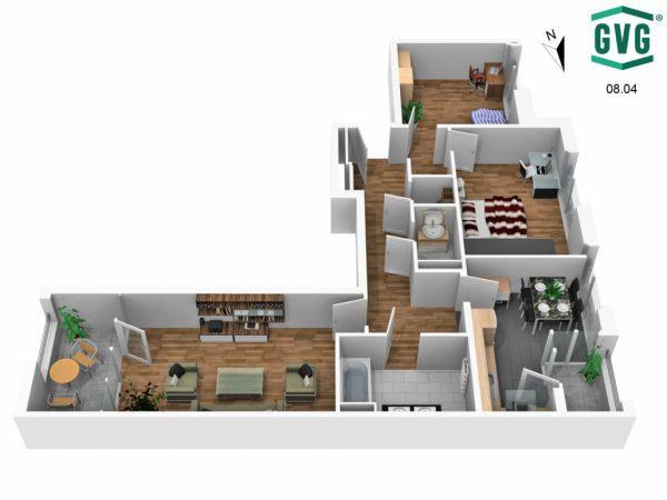 Grundriss 3D S Richtung 1 600x450 - Neubau! Erstbezug! Moderne 3-Zimmer-Wohnung mit Einbauküche und Loggia! (Whg. 14.11)