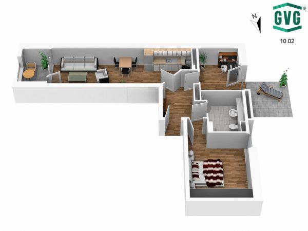 3D-Grundriss der 2,5-Zimmer-Wohnung in der Hermine-von-Parish-Strasse in Südrichtung