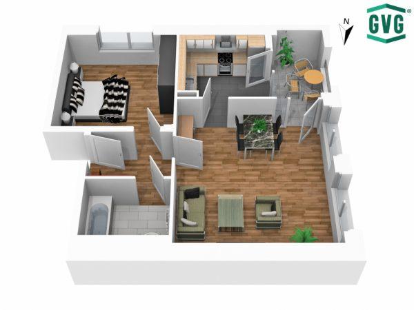 3D-Grundriss der 2-Zimmer-Wohnung in der Hermine-von-Parish-Strasse in Südrichtung