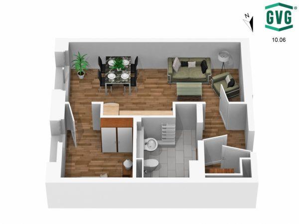 3D-Grundriss der 1,5-Zimmer-Wohnung in der Hermine-von-Parish-Strasse in Südrichtung