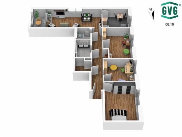 Grundriss 3D S Richtung 600x450 - Neubau! Erstbezug! Moderne 4-Zimmer-Wohnung mit Einbauküche und Loggia! (Whg. 13.23)