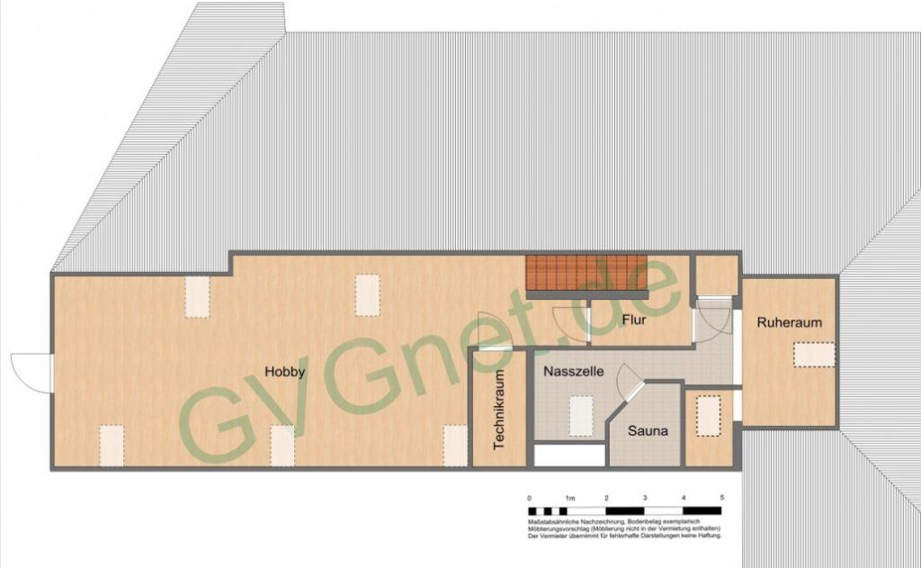Grundriss des Wellnessbereichs im Obergeschoss der exklusiven Dachgeschoss-Wohnung am Ostbahnhof