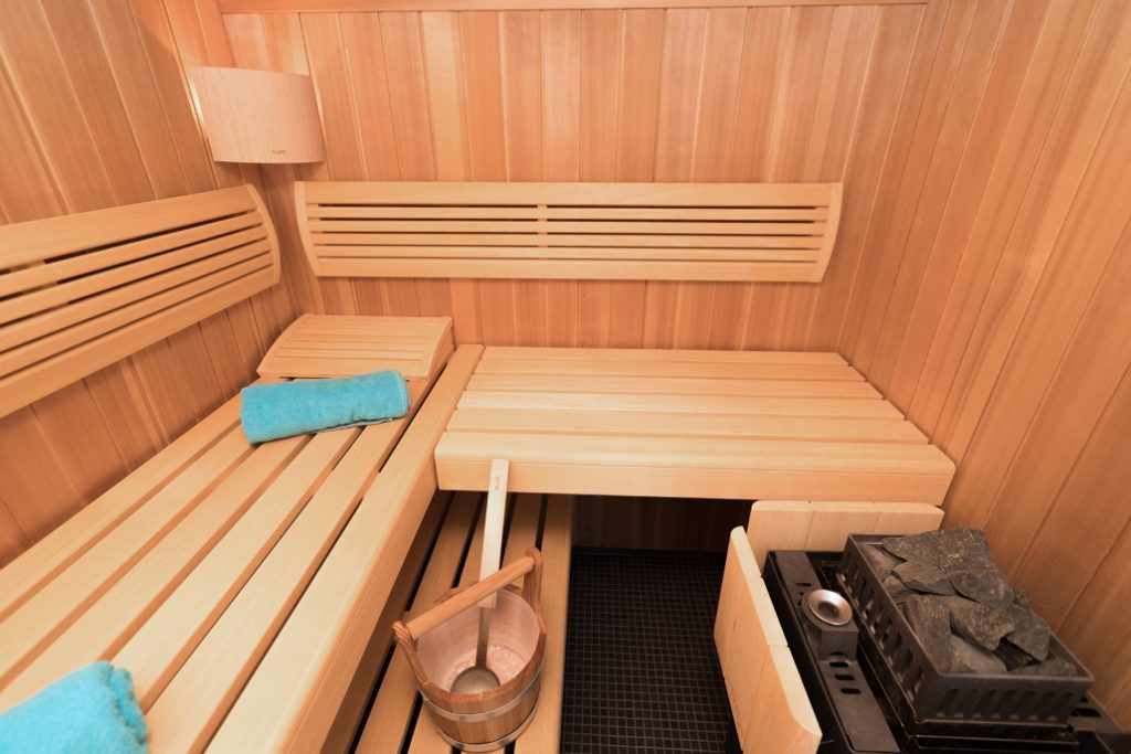Nahaufnahme der Sauna im Obergeschoss der exklusiven Dachgeschoss-Wohnung am Ostbahnhof