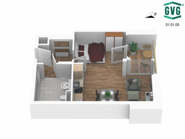 01.01.05 Ansicht5 1030x773 1 600x450 - Neubau! Erstbezug! Moderne 1-Zimmer-Wohnung mit Loggia