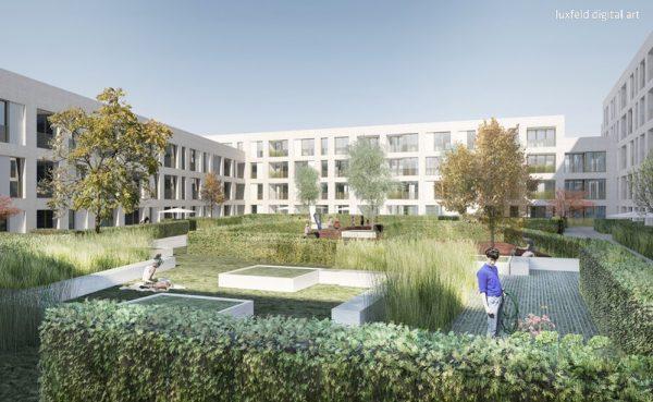 PEK Illustration Innenhof 600x369 - Neubau! Erstbezug! Moderne 3-Zimmer-Wohnung mit Loggia