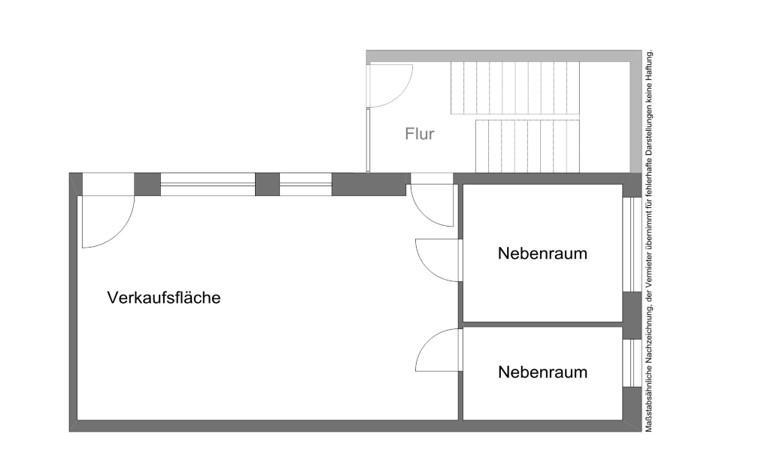 Grundriss der Verkaufsfläche im Erdgeschoss der Gleichmannstraße 5a