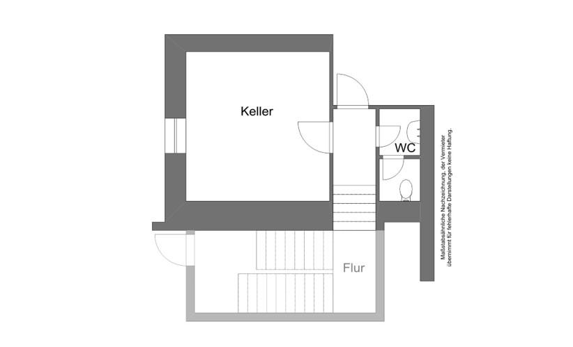 Grundriss der Lagerfläche im Untergeschoss der Gleichmannstraße 5a