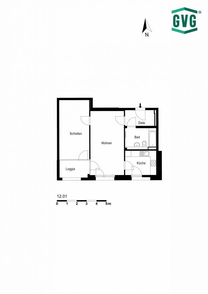 12.01 1 724x1024 - Neubau! Erstbezug! Moderne 2-Zimmer-Wohnung mit Einbauküche und Loggia! (Whg. 12.01)
