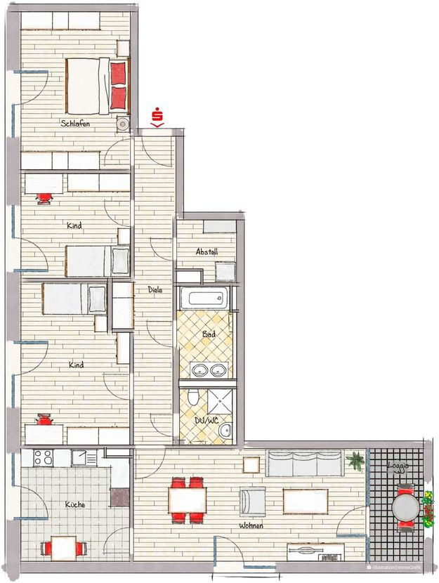 Grundriss - Neubau! Erstbezug! Moderne 4-Zimmer-Wohnung mit Einbauküche und Loggia (Whg. 08.19)