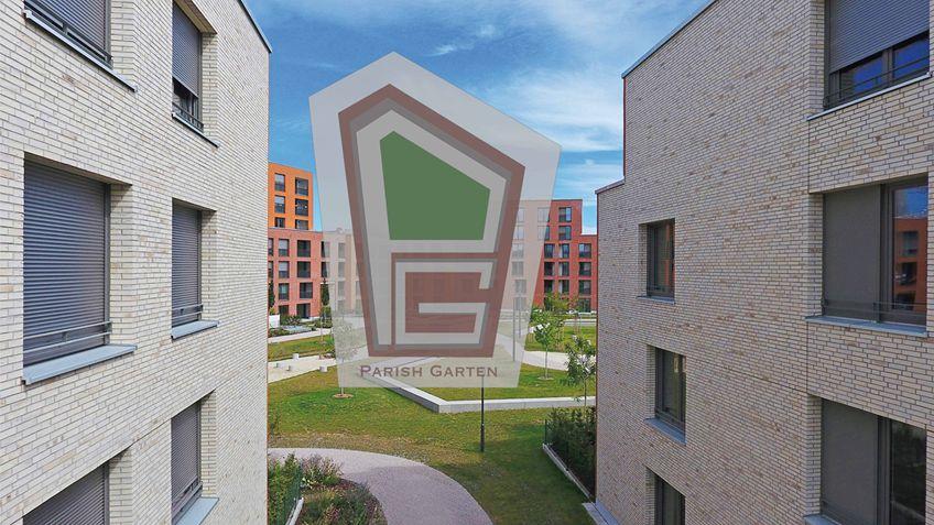 Parish Garten Drohnenaufnahme 1 - Neubau! Erstbezug! Moderne 4-Zimmer-Wohnung mit Einbauküche und Loggia (Whg. 08.19)