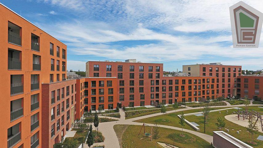 Parish Garten Drohnenaufnahme 2 - Neubau! Erstbezug! Moderne 3-Zimmer-Wohnung mit Einbauküche und Loggia (Whg. 07.12)