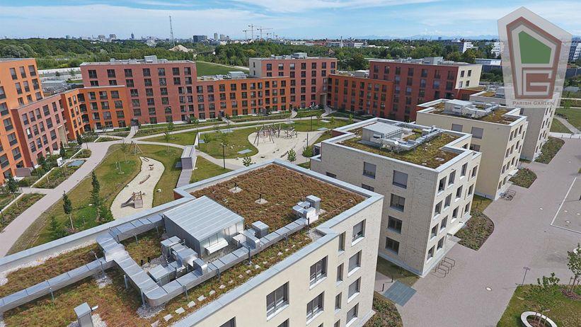Parish Garten Drohnenaufnahme 3 - Neubau! Erstbezug! Moderne 4-Zimmer-Wohnung mit Einbauküche und Loggia (Whg. 08.19)