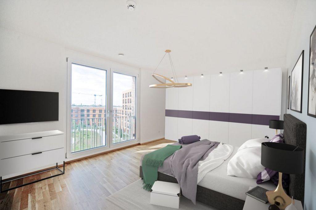 Visualisierung Schlafen 1024x682 - Neubau! Erstbezug! Moderne 4-Zimmer-Wohnung mit Einbauküche und Loggia (Whg. 08.19)
