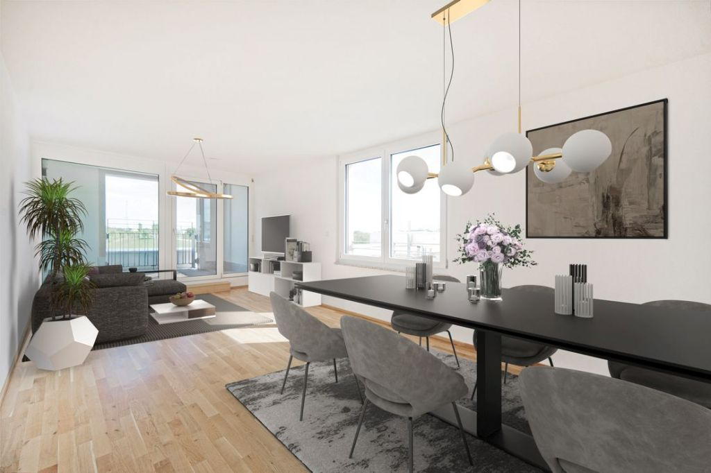 Visualisierung Wohnen 1024x682 - Neubau! Erstbezug! Moderne 4-Zimmer-Wohnung mit Einbauküche und Loggia (Whg. 08.19)