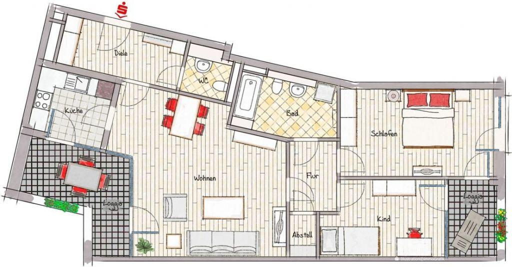 Grundriss 1 1024x534 - Neubau! Erstbezug! Moderne 3-Zimmer-Wohnung mit Einbauküche und Loggia (Whg. 07.12)