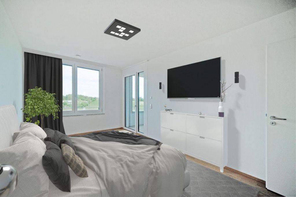 Visualisierung Schlafen 1 1024x682 - Neubau! Erstbezug! Moderne 3-Zimmer-Wohnung mit Einbauküche und Loggia (Whg. 07.12)