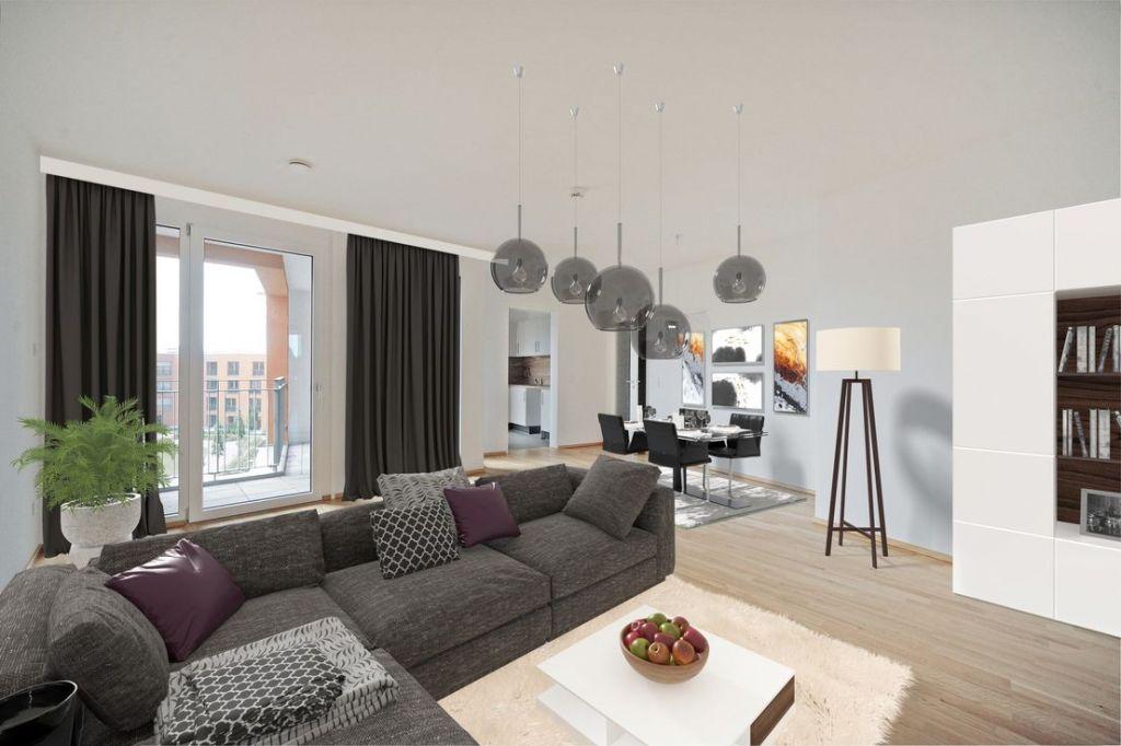 Visualisierung Wohnen 1024x682 - Neubau! Erstbezug! Moderne 3-Zimmer-Wohnung mit Einbauküche und Loggia (Whg. 07.12)
