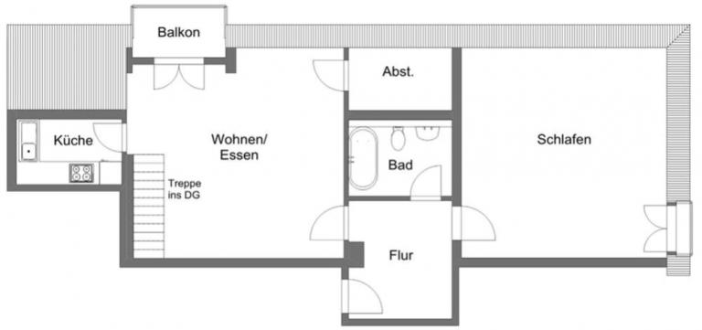 Gleichmannstrasse Grundriss 3. OG 768x361 - Große 2-Zimmer-Wohnung mit Galerie am Pasinger Bahnhof