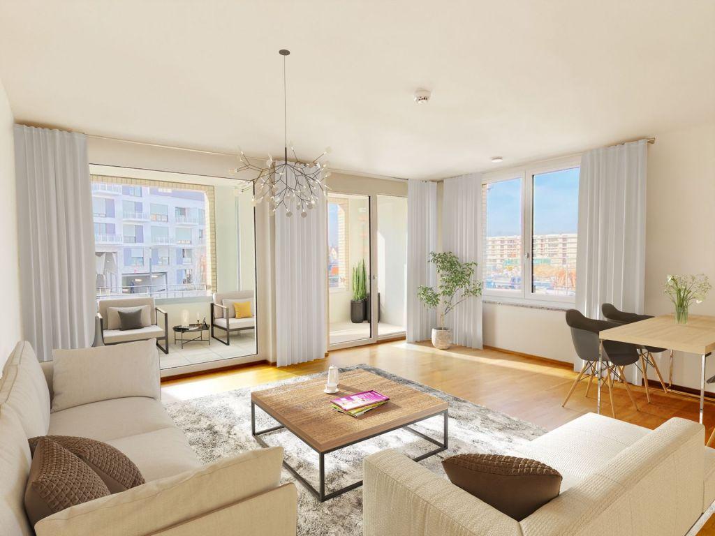 Visualisierung Wohnzimmer 1024x768 - Neubau! Erstbezug! Großzügige 2- bis 4-Zimmer-Wohnungen in Neupasing