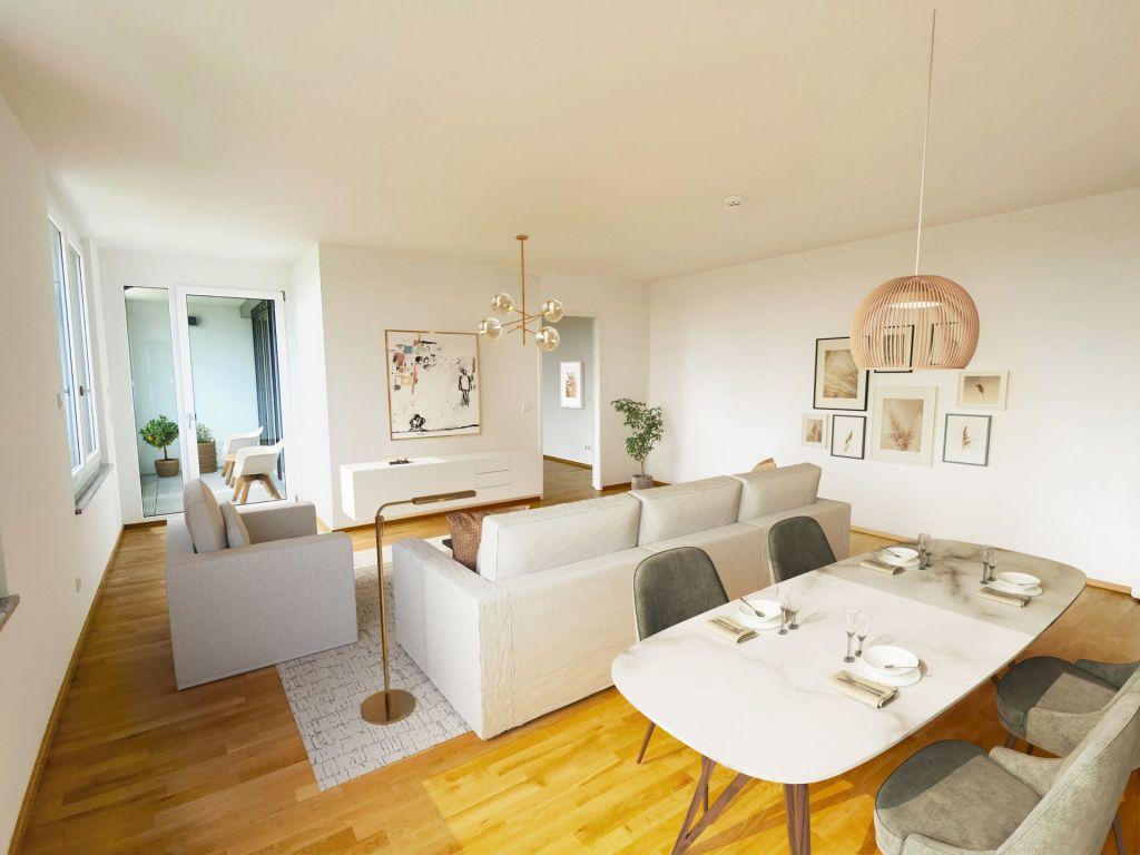 Visualisierung Wohnzimmer2 1024x768 - Neubau! Erstbezug! Großzügige 2- bis 4-Zimmer-Wohnungen in Neupasing
