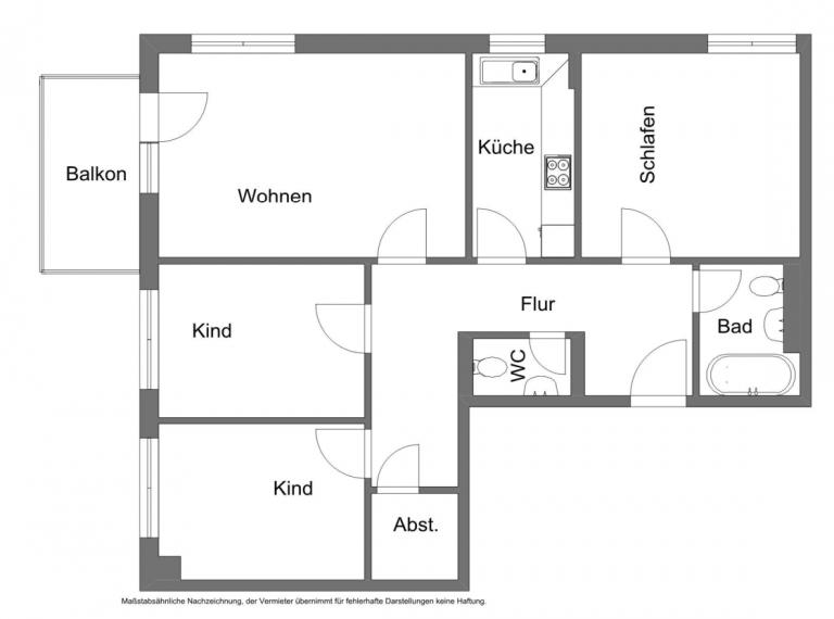 Grundriss Whg. 37 768x570 - München Modell! 4-Zimmer-Wohnung am Nymphenburger Schlosspark