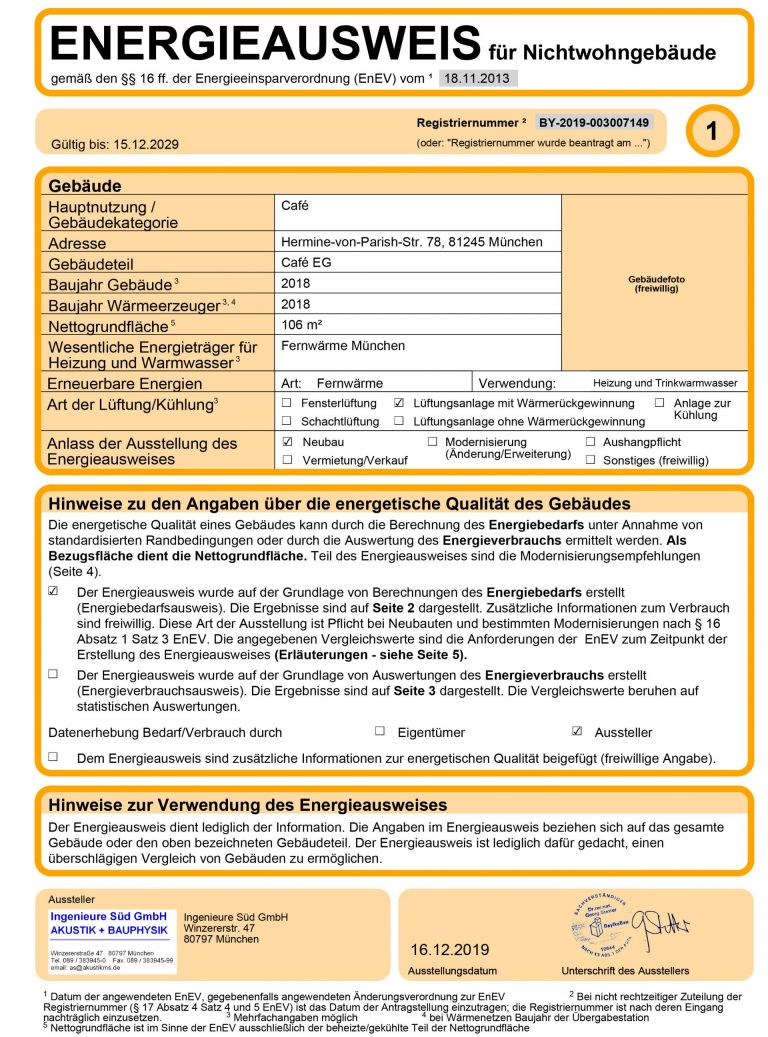 Energieausweis Cafe EG HvP Gewerbe 2 1 768x1037 - Erstbezug! Bäckerei- / Caféfläche in attraktiver Neubauanlage in Pasing-Obermenzing
