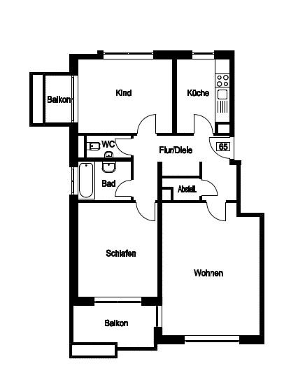 Grundriss - 3-Zimmer-Wohnung mit zwei Balkonen am Hirschgarten
