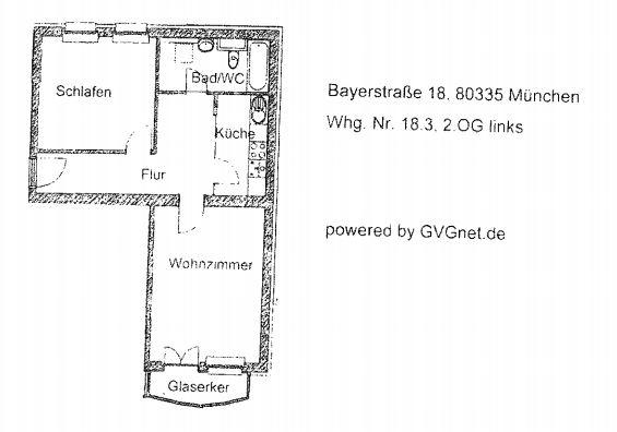 Grundriss Whg. 18.3 - 2-Zimmer-Wohnung im Zentrum Münchens
