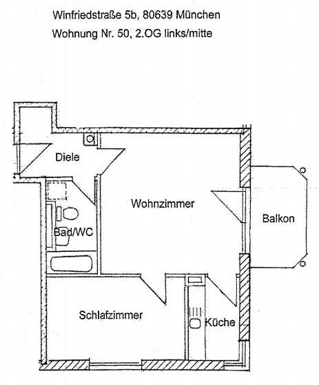 Grundriss Whg. 50 1113 - Gepflegte 2-Zimmer-Wohnung am Hirschgarten